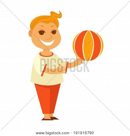 Redhead little boy with curly hair in oversize T-shirt and orange trousers plays with big inflatable colorful striped ball and smiles broadly isolated vector illustration on white background.