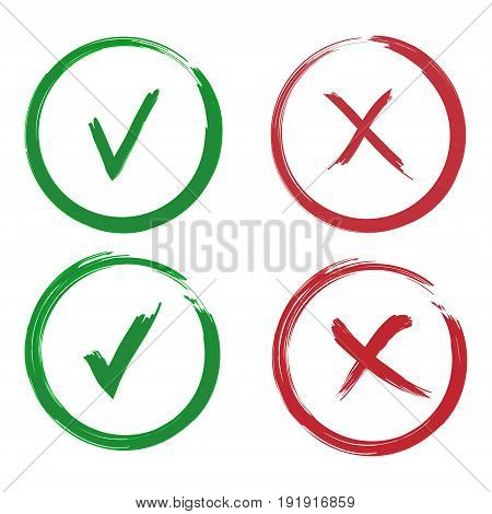 Simple marks graphic design. symbols YES and NO button for vote, decision, web. Vector illustration