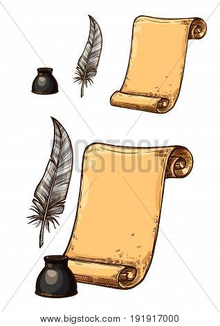 Old paper sheet roll and ink feather quill pen. Retro or antique book writing stationery of inkwell bottle and brown rough manuscript for letter or poem. Vector isolated icons set