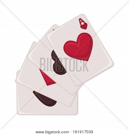 Aces of all suits such as red hearts and diamonds, black clubs and spades placed one by one isolated cartoon vector illustration on white background. Gambling equipment for poker and black jack.