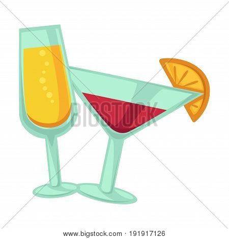 Champagne and martini glasses with yellow and red drinks isolated on white vector poster in flat design. Close up two glassy dishes on legs with beverages for summer parties with lemon slice