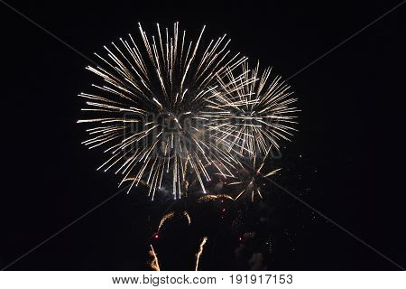A b ig colorful fireworks in the black night sky