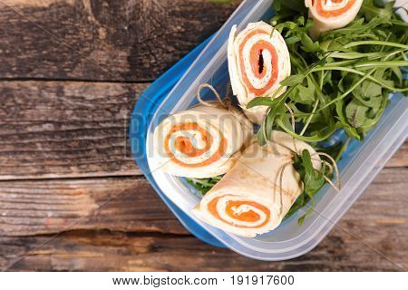 sandwich wrap with cream and salmon