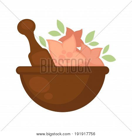 Bowl in brown color with pink flowers and special long tool for stirring inside. Vector graphic illustration in flat design of dish with blossoms for making beauty cosmetic masks or other products