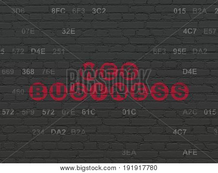 Web development concept: Painted red text Web Business on Black Brick wall background with Hexadecimal Code
