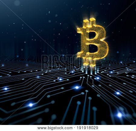 Bitcoin symbol on circuit converging point - 3D Rendering