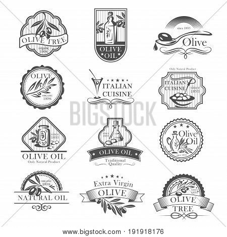 Olive oil and olives icons for Italian cuisine badges restaurant or product labels. Vector set of extra virgin olive oil bottles and drops or jars with ribbons for organic cooking oils or farm market