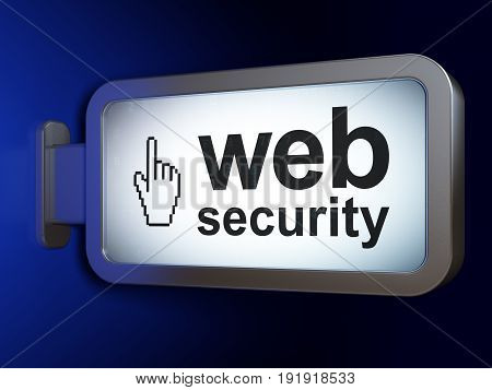Web development concept: Web Security and Mouse Cursor on advertising billboard background, 3D rendering