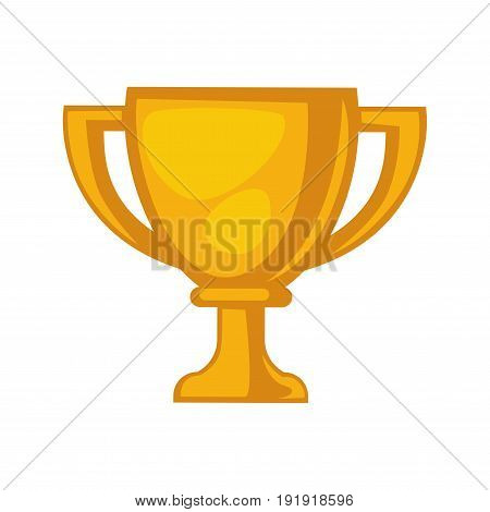 Golden trophy cup isolated on white close up vector illustration in flat design. Prize denoting first place on competition and can be handed only for winners, made of gold. Yellow precious award