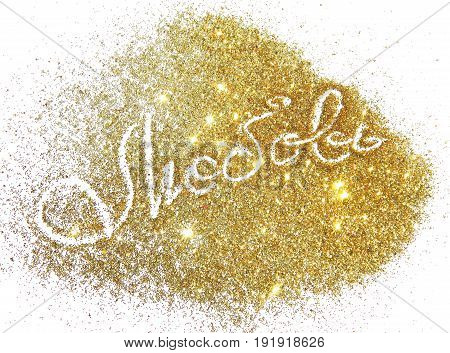 Word Love in Russian of golden glitter sparkles on white background