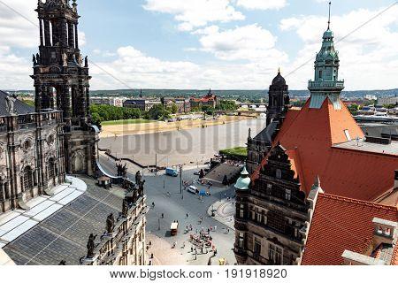 Dresden, Germany - June, 2016: Aerial view of Dresden