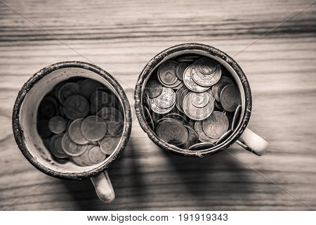 Old Soviet Coins In A Rusty Enamel Cup - Monochrome Vintage Look