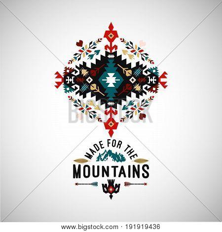 Colorful tribal Navajo style vector ornamental geometric logo