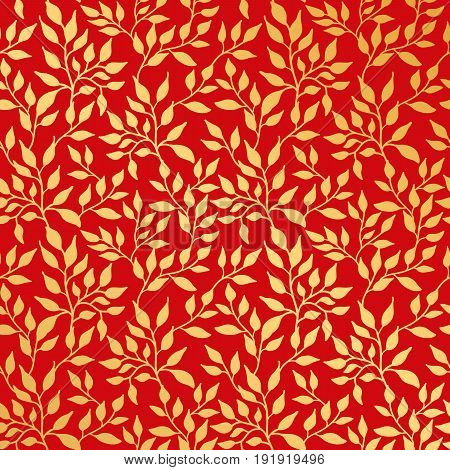 Flowers leaf gold seamless pattern, gold on red. Golden leaves background pattern, backdrop, fabric. Birthday greeting card, wedding invitation, baby shower, party, events. Beautiful print wallpaper