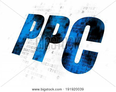 Advertising concept: Pixelated blue text PPC on Digital background