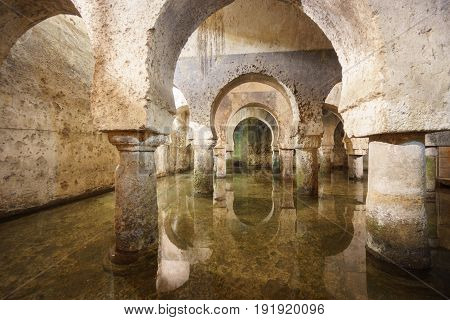 Wide angle view of Caceres arab cistern, XII century