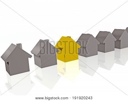 Grey and yellow homes on white reflection background 3D illustration.