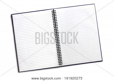 Open blank spiral notebook with clipping path, isolated on white. Two page.