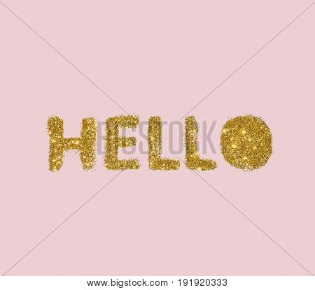 Word Hello of golden glitter on pink background in vintage style.