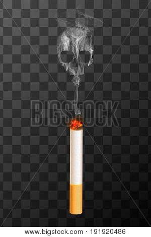 Realistic burning cigarette with white smoke in skull shape on transparent background. Smoking kills concept illustration.