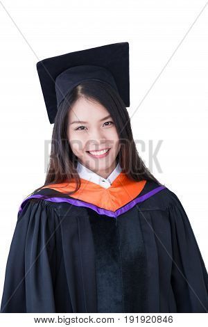 Asian Cute Women Portrait Graduation Isolated On White, Thailand University.