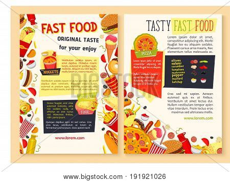 Fast food restaurant posters set. Vector design of hot dog, cheeseburgers and sandwiches, combo meals and pizza or street food snacks of burgers, french fries and ice cream or donut desserts