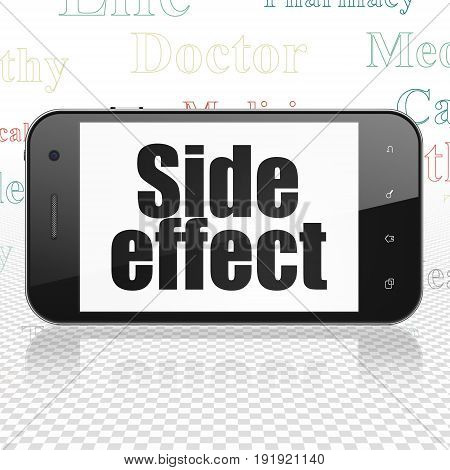 Health concept: Smartphone with  black text Side Effect on display,  Tag Cloud background, 3D rendering
