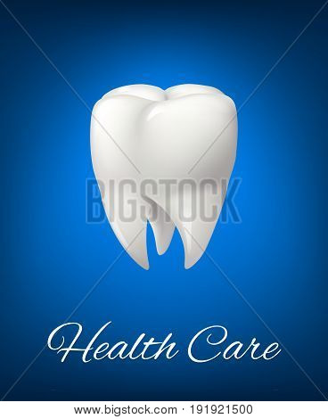 White tooth 3d icon or poster for dentistry health care design. Realistic healthy tooth symbol for toothpaste or medical mouthwash treatment product or dentistry office and clinic