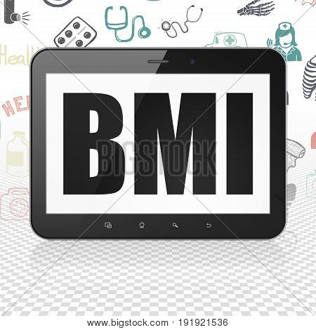 Medicine concept: Tablet Computer with  black text BMI on display,  Hand Drawn Medicine Icons background, 3D rendering