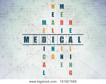 Healthcare concept: Painted blue word Medical in solving Crossword Puzzle on Digital Data Paper background