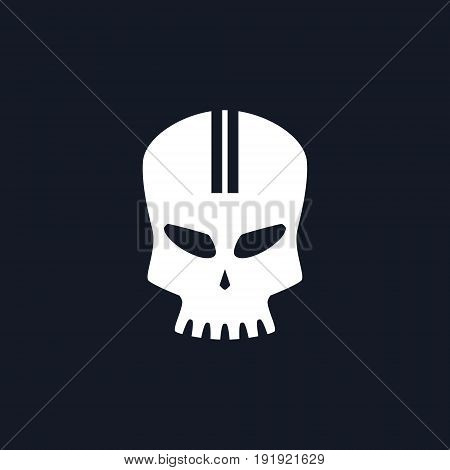 White Sport Moto Speed Skull Isolated, Silhouette Skull on Black Background , Death's-head, Black and White Vector Illustration