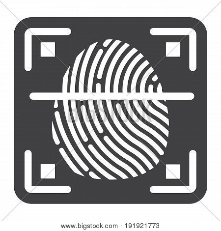 Fingerprint scanner solid icon, id and security, vector graphics, a glyph pattern on a white background, eps 10