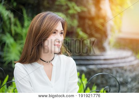 Portait Single Asian Beautiful Women Adult Smile In The Park. Enjoy Healthy Good Life And Lifestyle