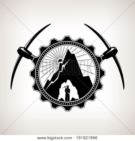 Miner in the Helmet is Holding Pickaxe in the Bowels of the Mountain on a Background of the Sunburst in a Gear with Two Crossed Pickaxes , Vintage Emblem of the Mining Industry, Vector Illustration