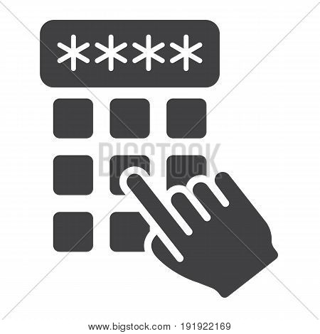 Hand finger entering pin code solid icon, unlock and password, vector graphics, a glyph pattern on a white background, eps 10.