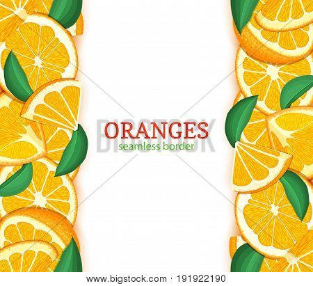 Orange fruit vertical seamless border. Vector illustration card top and bottom Fresh tropical oranges whole and slice for design tea, ice cream, natural cosmetics, health care products, detox diet.