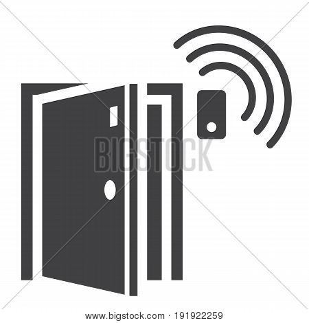 Door sensor solid icon, security and alarm, vector graphics, a glyph pattern on a white background, eps 10.