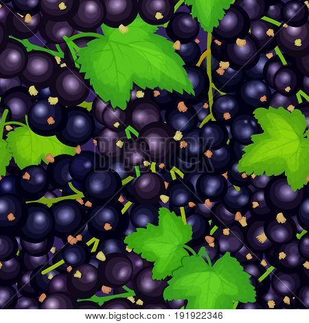 Ripe juicy black currant seamless background. Vector card illustration. Closely spaced fresh berry and leaves. Currant pattern for packaging design food, juice jam ice cream, smoothies, detox, cosmetics