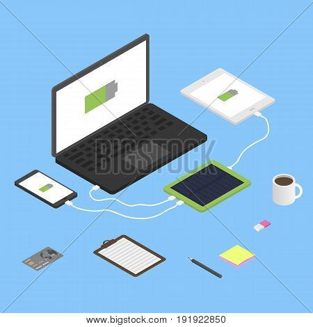 Solar powerbank charging a smartphone, computer and tablet pc. Isometric vector illustration.