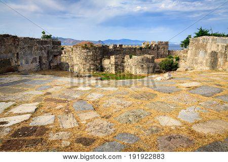 Fortress of Neratzia Castle ruins in Kos island Greece.