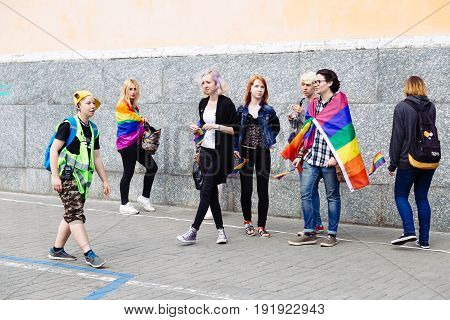KYIV, UKRAINE - 18 JUNE 2017: Happy girls parade goers participate in 2017 KYIV Gay Pride March.
