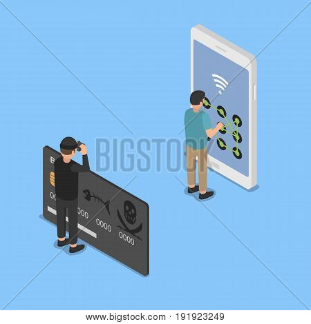 Hacking smartphone user database. Isometric vector illustration.