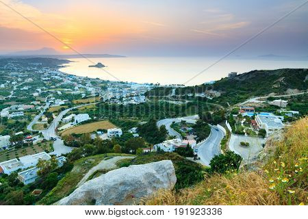 Beautiful morning aerial view of the village Kefalos Kastri island and the coast of Kos Dodecanese Greece