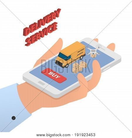 Design concept of modern delivery service. Vector illustration in isometric style.