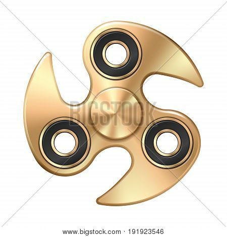 Hand fidget twisted spinner toy - stress and anxiety relief. Golden metallic.