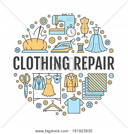 Clothing repair, alterations studio equipment banner illustration. Vector line icon of tailor store services - dressmaking, dress, garment sewing. Clothes atelier circle template with place for text.