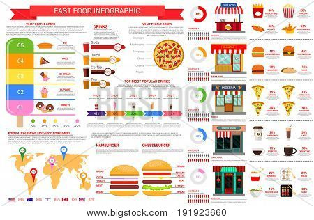 Fast food vector infographics template and elements on fastfood consumption diagrams, percent share of burgers popularity and preference, consumer market on world map and restaurant visitors flowchart