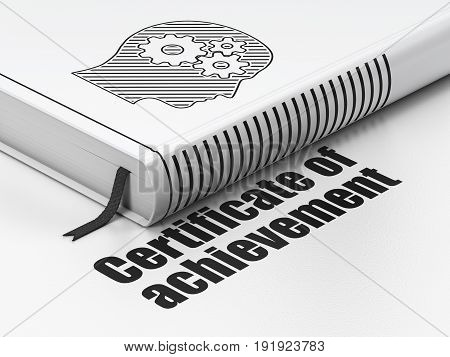 Education concept: closed book with Black Head With Gears icon and text Certificate of Achievement on floor, white background, 3D rendering