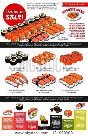Japanese sushi restaurant menu template with sushi set sale. Vector price design of prawn shrimps tempura, steamed rice and green tea, sashimi and seafood noodle dishes or miso soup and chopsticks