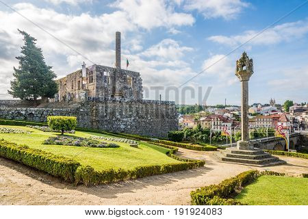 BARCELOS,PORTUGAL - MAY 14,2017 - View at the ruins of Paco dos Condes in Barcelos. The town symbol is a rooster in Portuguese called Galo de Barcelos (Rooster of Barcelos).